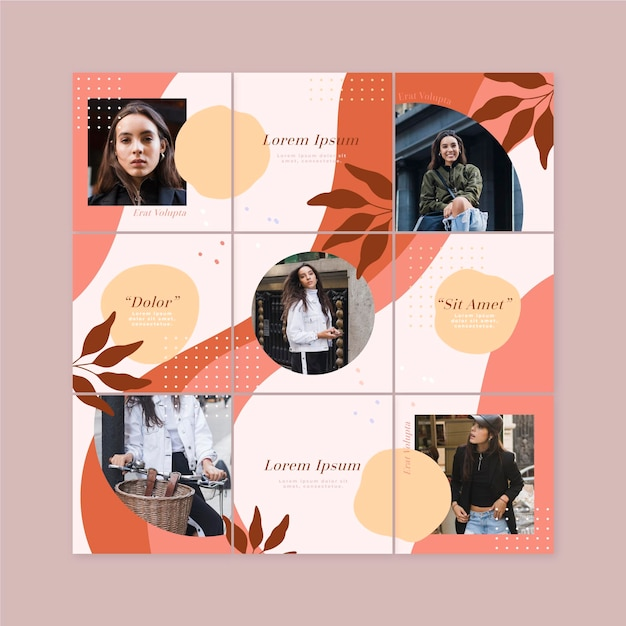Instagram puzzle feed with templates set Free Vector