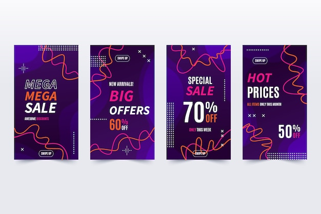 Instagram sale curvy lines and dots Free Vector