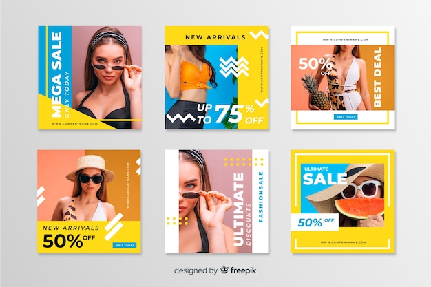 Instagram sale post collection Free Vector