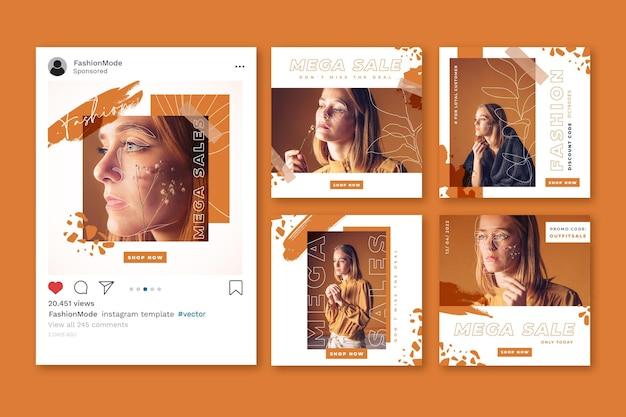 Instagram 판매 게시물 모음 무료 벡터