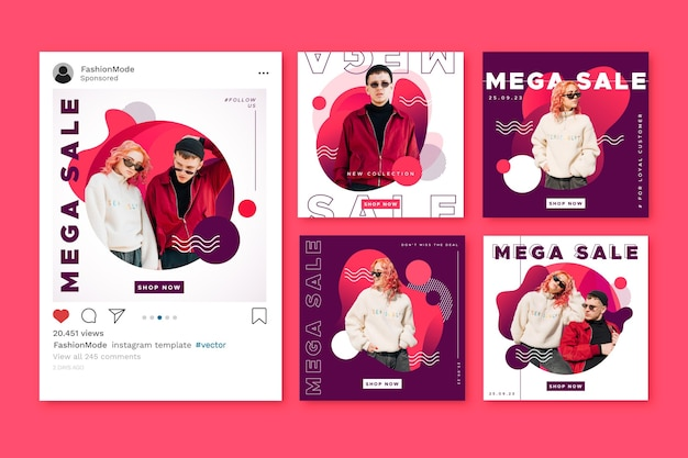 Instagram sale post template collection Free Vector