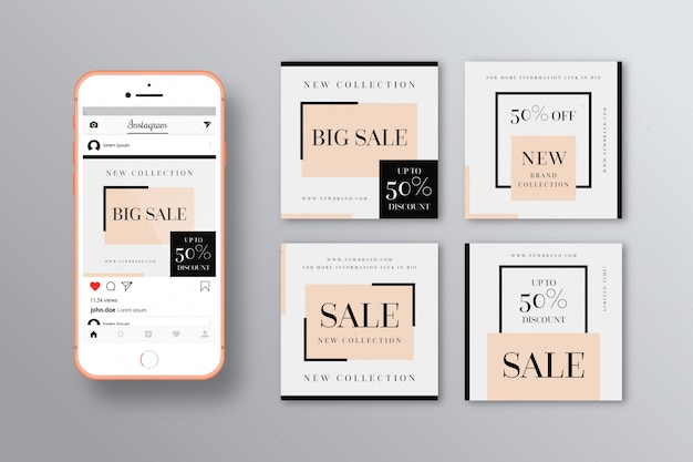 Instagram sale posts collection template Free Vector