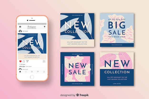 Instagram sale posts pack template Free Vector