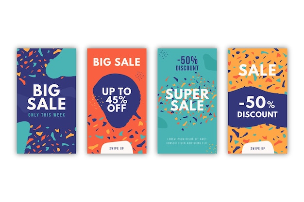 Instagram sale stories collection in hand drawn style Free Vector