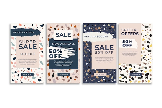 Instagram sale stories collection in terrazzo and hand drawn style Free Vector