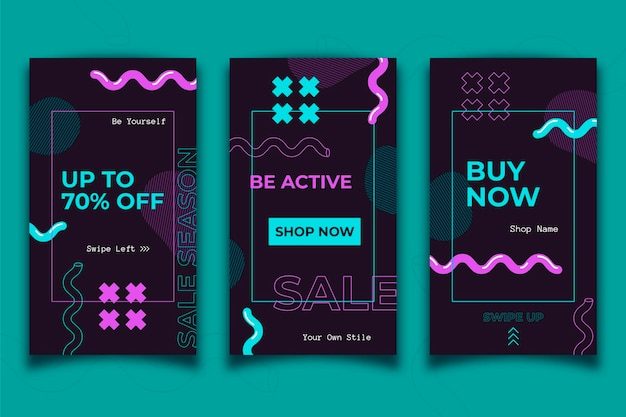 Instagram sale stories with wavy lines Free Vector