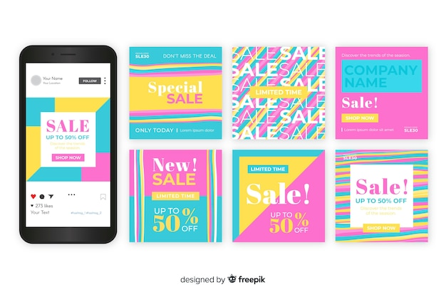 Instagram sales post collection template Free Vector