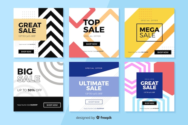 Instagram sales post collection Free Vector