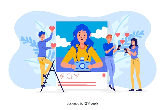 Instagram self photo concept with people liking Free Vector