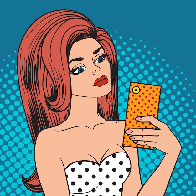 携帯電話とinstagramのselfieポップアートの女の子を保持しているポップアートselfie女の子を送信します。 Premiumベクター