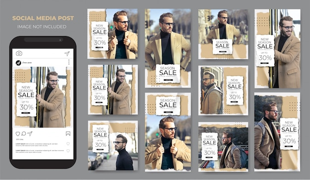 Instagram set fashion sale pack light brown sale template post feed