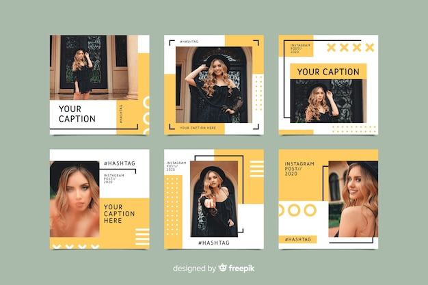 Free Vector Instagram Set Of Posts Template