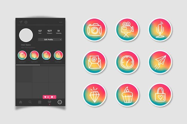 Instagram social media gradient stories highlights Free Vector