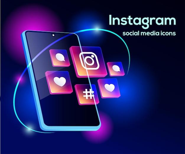 スマートフォンのシンボルとinstagramのソーシャルメディアアイコン Premiumベクター