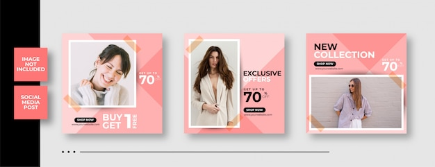 Instagram social media post banner template for fashion Premium Vector