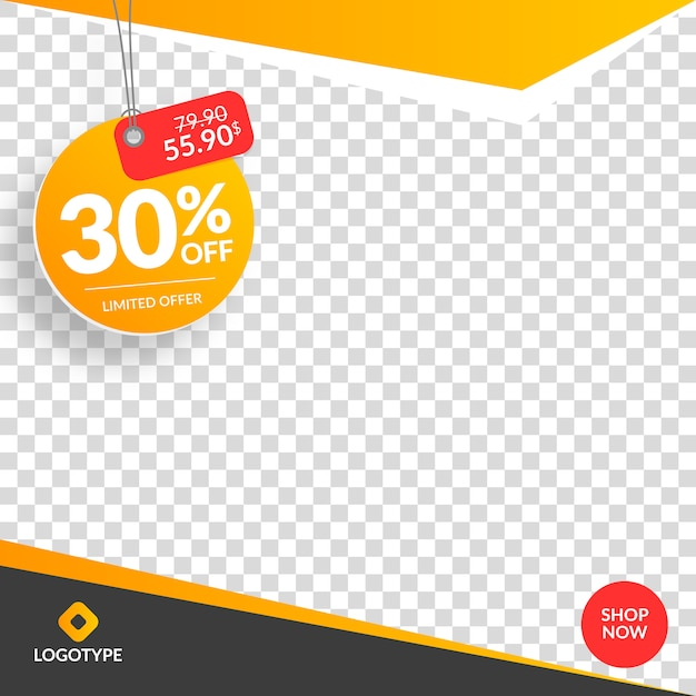 Instagram and social media sale banner with empty abstract background Premium Vector