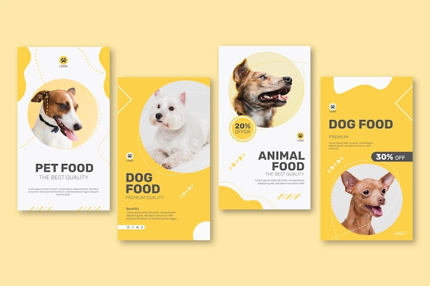 Instagram stories collection for animal food with dog Free Vector