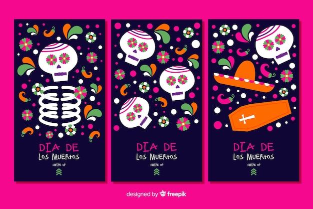 Instagram stories collection day of the dead Free Vector