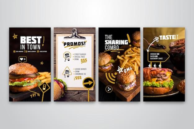 バーガーレストランのinstagramストーリーコレクション 無料ベクター