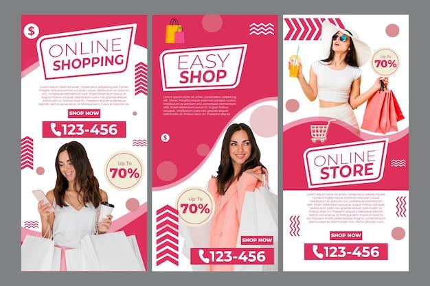 온라인 쇼핑을위한 instagram 이야기 모음 무료 벡터