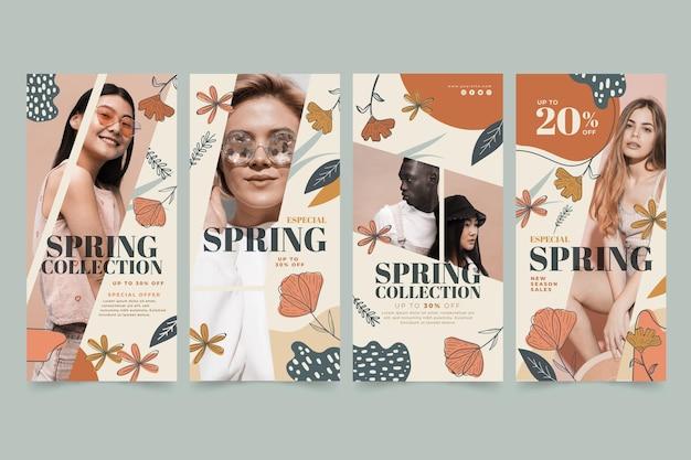春のファッションセールのためのinstagramストーリーコレクション 無料ベクター