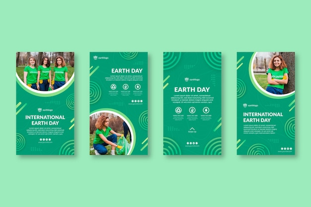 Instagram stories collection for mother earth day celebration Free Vector