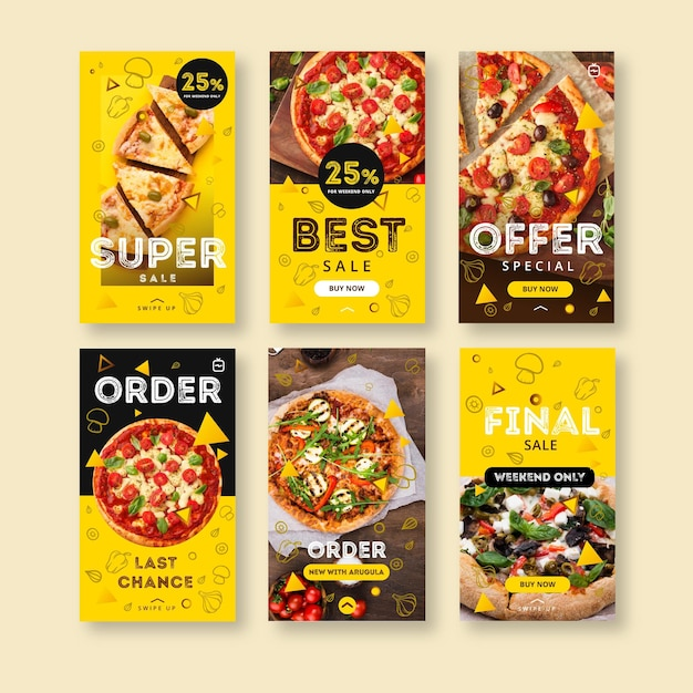 Instagram stories collection for pizza restaurant Free Vector