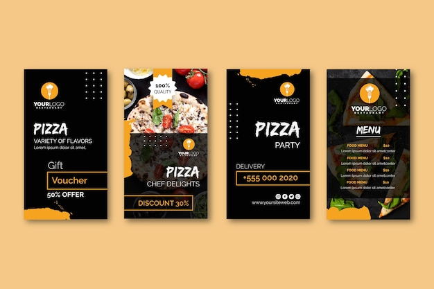Instagram stories collection for pizza restaurant Premium Vector