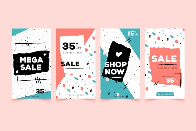 Instagram stories collection for sale Free Vector
