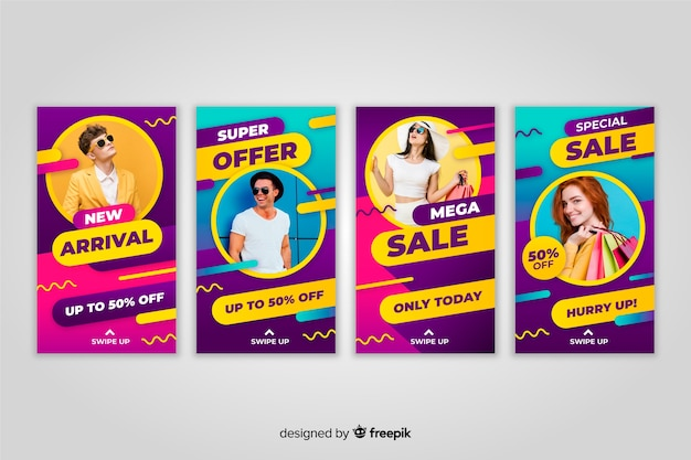 Instagram stories colorful abstract sale with image Free Vector