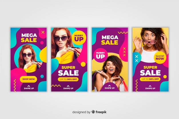 Instagram stories colorful abstract sale with photo Free Vector
