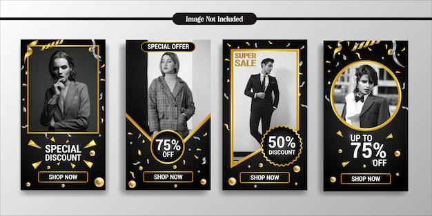 Instagram stories exclusive golden fashion style template Premium Vector