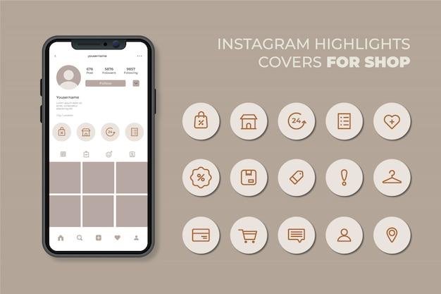 Instagram stories highlights Premium Vector
