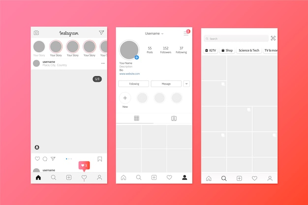 Instagram stories interface template Free Vector