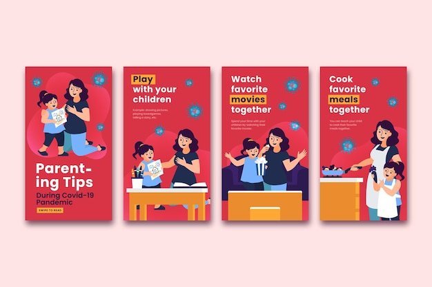 Instagram stories for parenting tips Free Vector