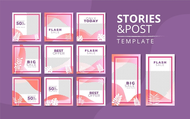 Instagram stories and post collection template Premium Vector