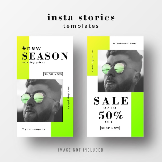 Instagram stories sale template with neon colors Free Vector
