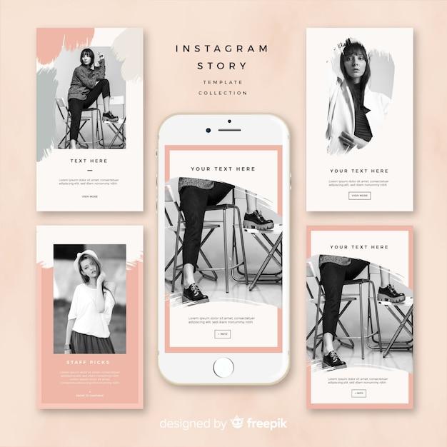 Instagram stories template design Free Vector