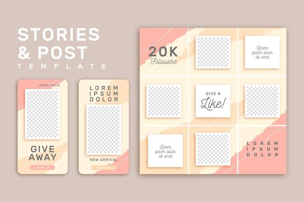 Modello di storie di instagram rosa e giallo Vettore gratuito