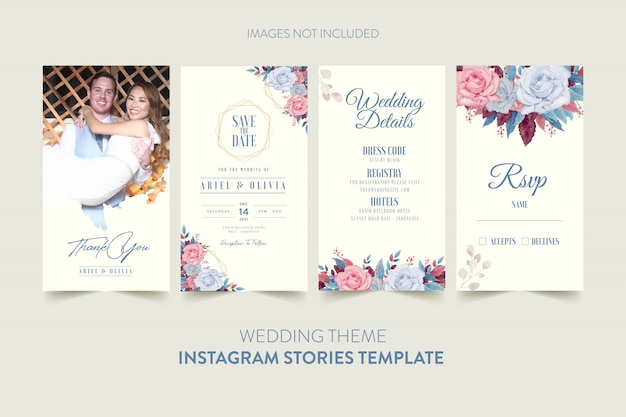 Instagram stories template for wedding invitation card with watercolor flower and leaves Premium Vec