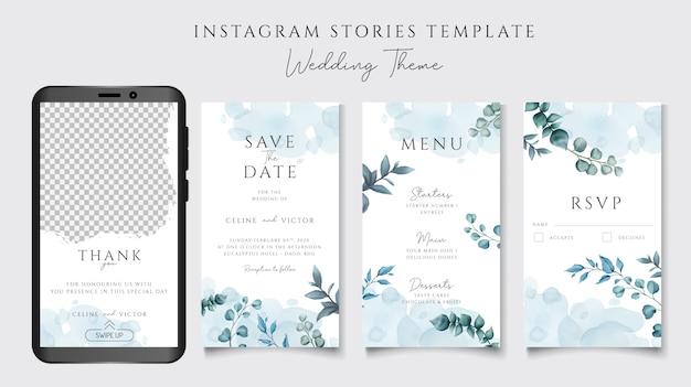 Instagram stories template for wedding invitation theme Premium Vector