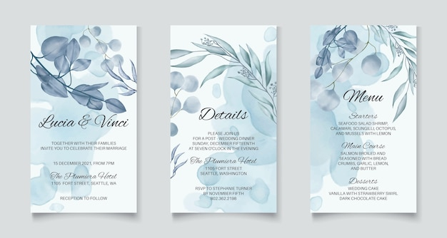 Instagram stories template wedding invitation with blue abstract leaves background Premium Vector