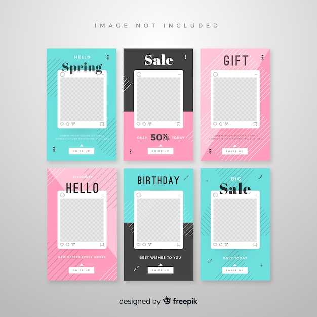 Instagram stories template with empty frame Free Vector