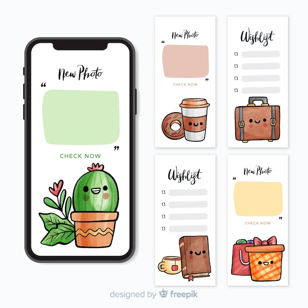 Instagram stories template Premium Vector