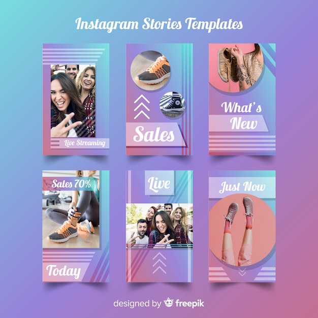Instagram stories template Free Vector