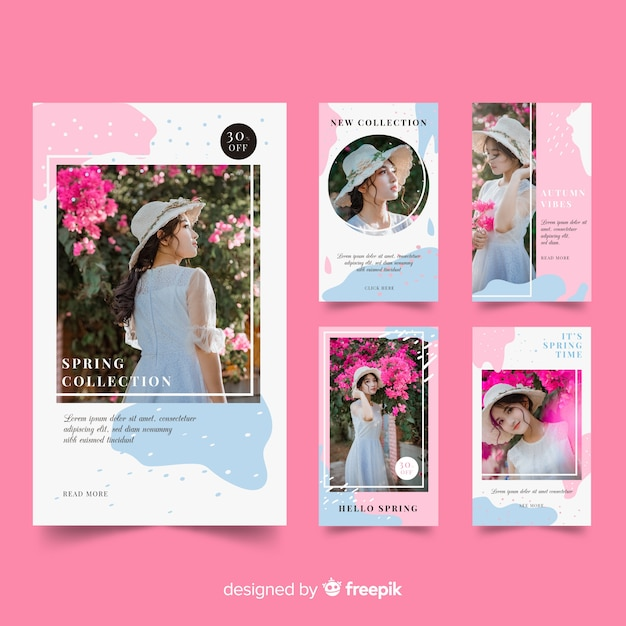 Instagram stories templates of fashion Free Vector