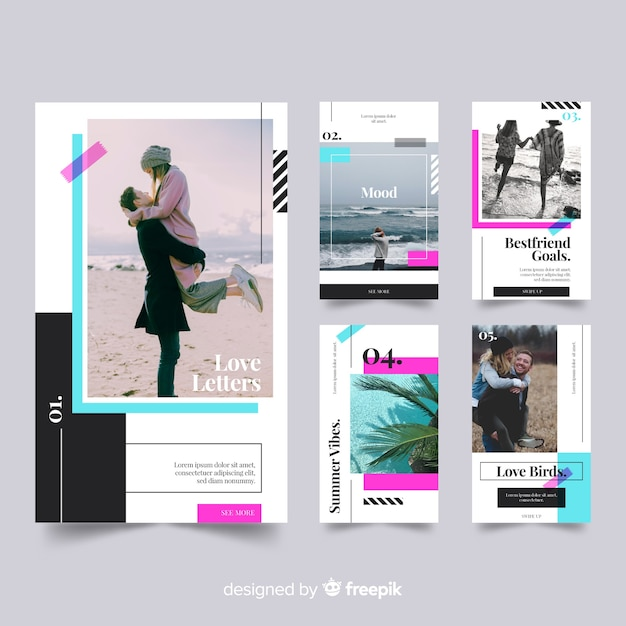 Instagram stories templates of travel Free Vector
