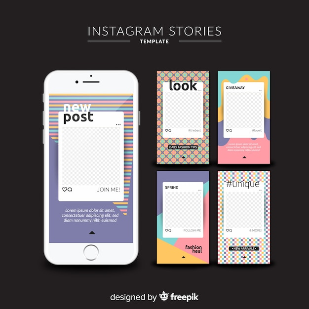 Instagram stories templates with empty frame Vector | Free