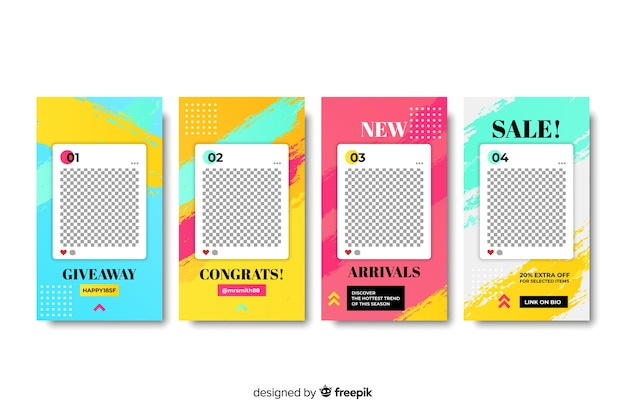 Instagram stories templates with empty frame Free Vector