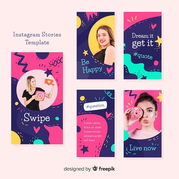 Instagram stories templates Free Vector